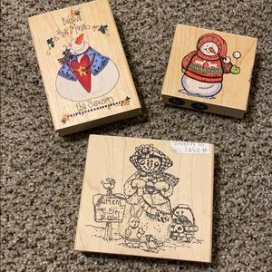 Trio of Snowman Christmas Rubber Stamps